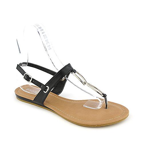Bamboo Saili-16 Thong Sandals Black T-Strap Sandals