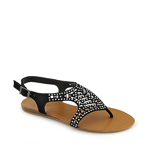 Bamboo Steno-87 Black Jeweled Sandals