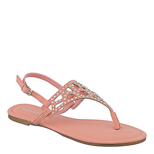 Bamboo Cope-09 Thong Sandals Pink Jeweled Sandals