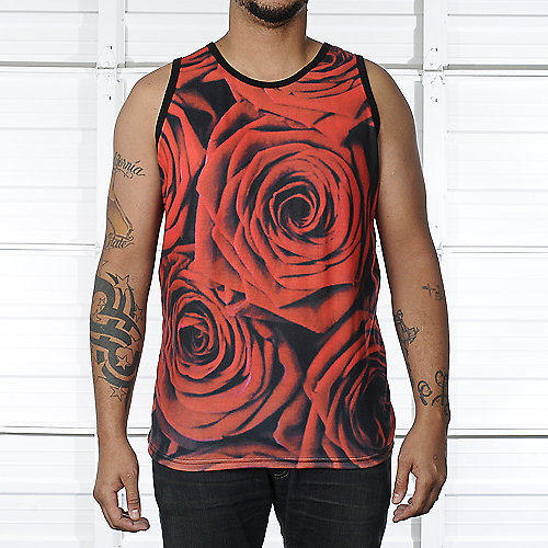 Shiekh Mens Red Roses Tank