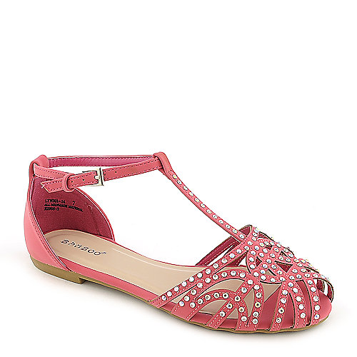 Bamboo Lynna-01 Pink Jeweled Sandals