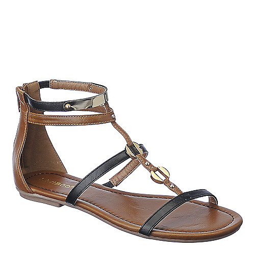 Bamboo Pable-01 Flat Sandals Black Gladiator Sandals