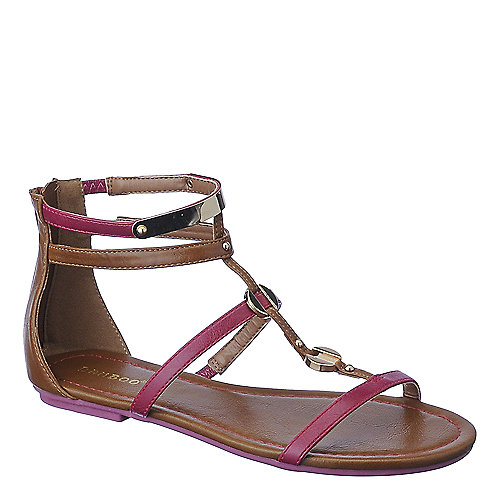 Bamboo Pable-01 Flat Sandals Fuschia Gladiator Sandals