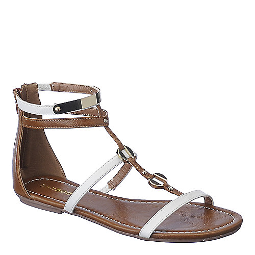 Bamboo Pable-01 Flat Sandals White Gladiator Sandals