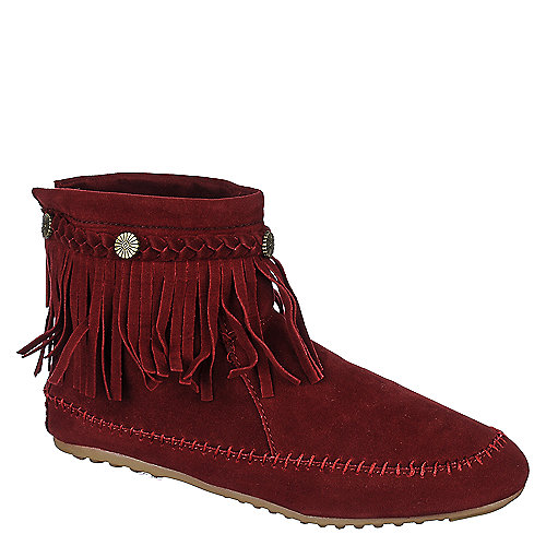 Nature Breeze Women's Fringe Ankle Boot Cherokee-01 Burgundy Ankle Boots