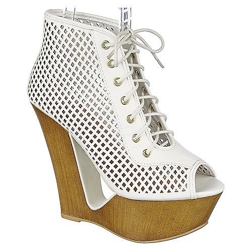 Bamboo Laura-05 High Heel Wedge Booties White