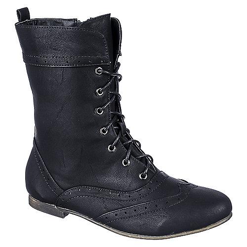 Anna Wingtip Flat Boots Black