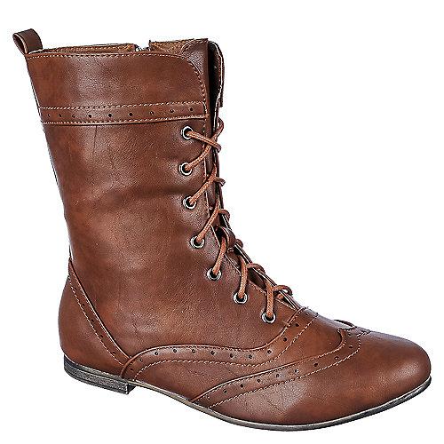 Anna Wingtip Flat Boots Tan
