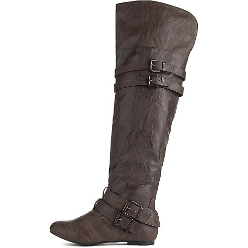 Shiekh Women's Knee-High Pocket Boot Vickie-16 Hi Brown Knee-High Boots