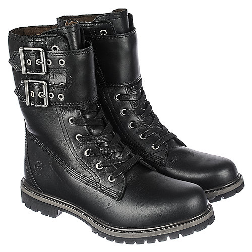 Timberland Womens Mid-Calf Boot 8IN Double Strap  Mid-Calf Boots Black
