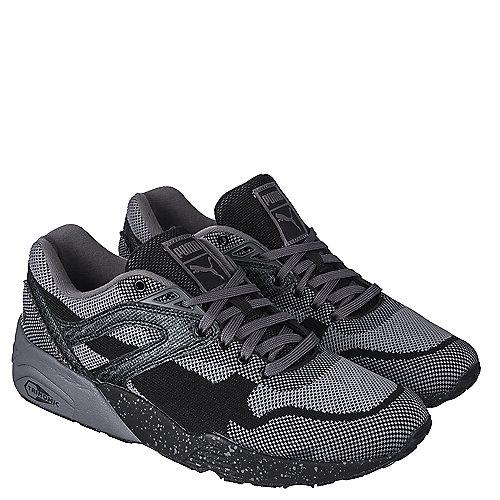 Puma Mens Casual Lace-Up Sneaker R698 Knit Mesh Splatter  Sneaker Black