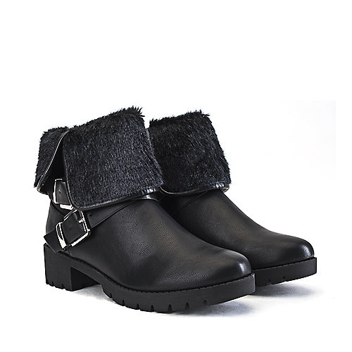 Shiekh Women's Low Heel Fur Ankle Boot Eris-S Black Fur Boots