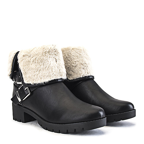 Shiekh Low Heel Fur Ankle Boots Eris-S Black