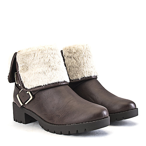 Shiekh Low Heel Fur Ankle Boots Eris-S Brown