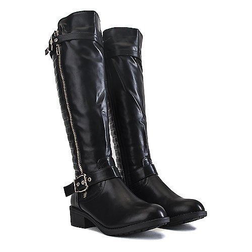 Shiekh Knee-High Pocket Boots Justina-02 S Black Cell Phone Pocket Boots