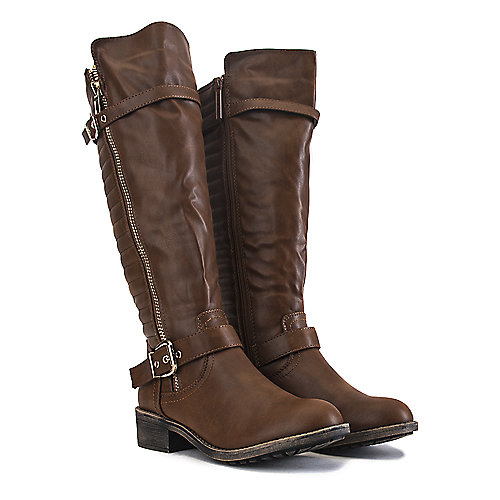 Shiekh Women's Knee-High Pocket Boot Justina-02 S Tan Cell Phone Pocket Boots