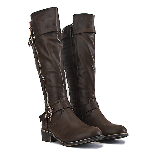 Shiekh Knee-High Pocket Boots Justina-02 S Brown Cell Phone Pocket Boots