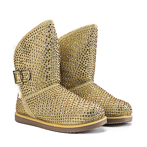 Shiekh Fur Studded Boots Urban Hook  Gold