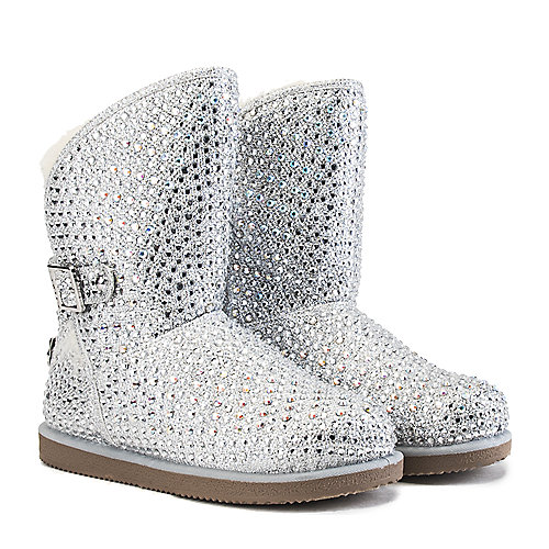Shiekh Fur Studded Boots Urban Hook  Silver