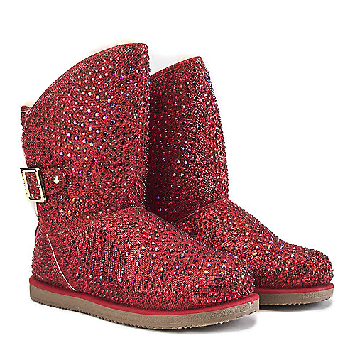 Shiekh Fur Studded Boots Urban Hook  Red