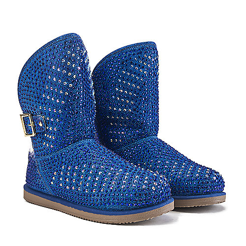 Shiekh Fur Studded Boots Urban Hook  Blue