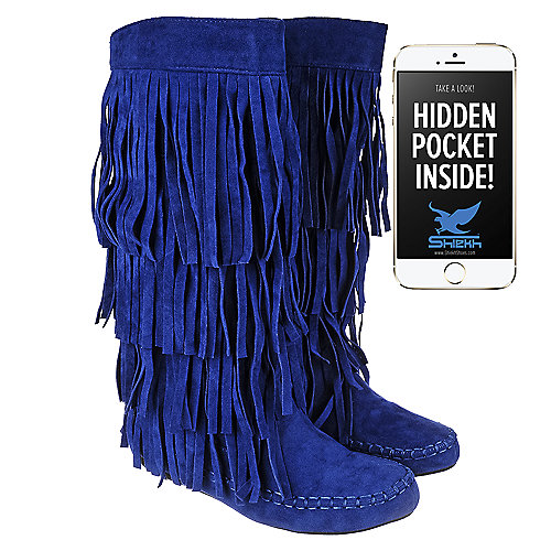 Shiekh Womens Fringe Pocket Boot Mudd-55 Mid-Calf Boots Blue