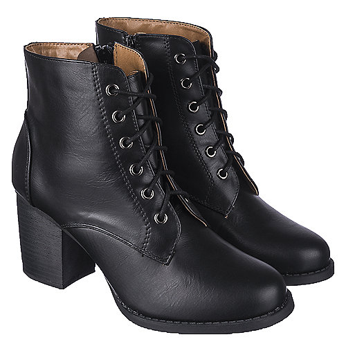 Shiekh Women's Low Heel Lace-Up Boot Korman-S Black Low Heel Boots