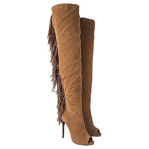 Shiekh Thigh-High Fringe Boots Rose Tan