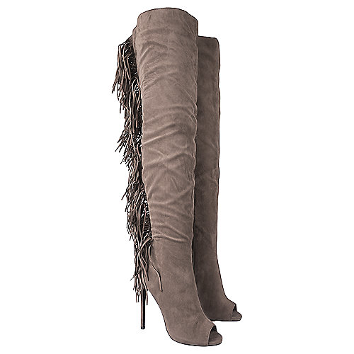 Shiekh Thigh-High Fringe Boots Rose Grey