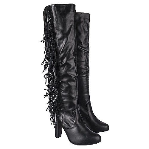Shiekh Knee-High Leather Fringe Boots Apollo-3 Black