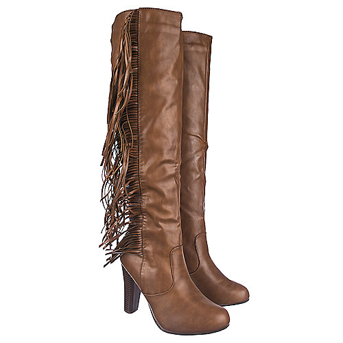 Shiekh Knee-High Leather Fringe Boots Apollo-3 Tan