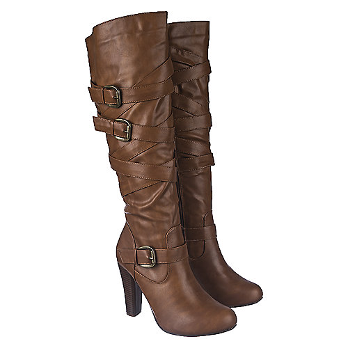 Shiekh Women's Knee-High Leather Boot Apollo-1 Tan Knee-High Boots