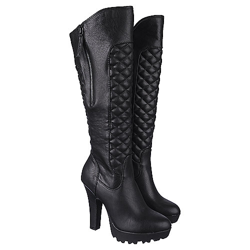 Shiekh Women's Knee-High Pocket Boot Elizabeth-01 Black Knee-High Boots