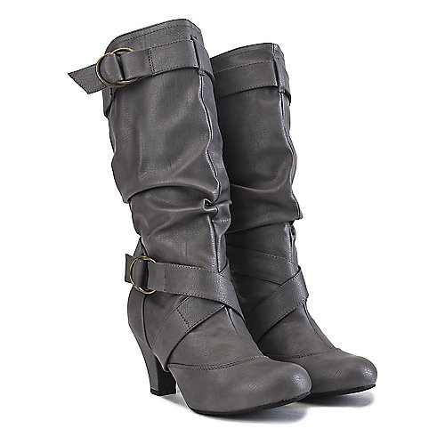 Shiekh Low-Heel Pocket Boots Reggie-01P Grey Cell Phone Pocket Boots