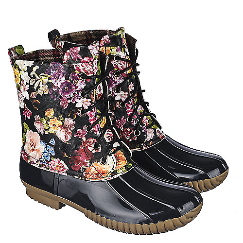 Adriana Womens Floral Lace-Up Boot Dylan Mid-Calf Boots Multi-Color