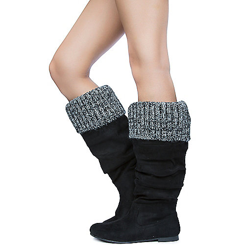 Shiekh Women's Starcy-70B Knitted Boot Black Mid-Calf Boots
