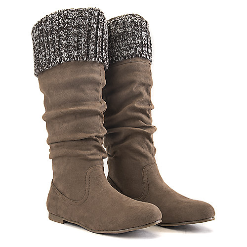 Shiekh Women's Starcy-70B Knitted Boot Taupe Mid-Calf Boots