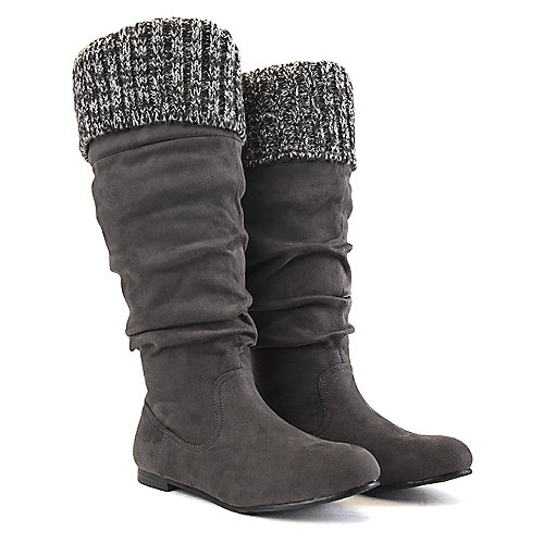 Shiekh Women's Starcy-70B Knitted Boot Grey Mid-Calf Boots