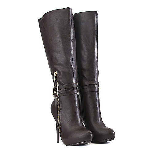 Delicious Knee-High Leather Boots Fable-S Brown