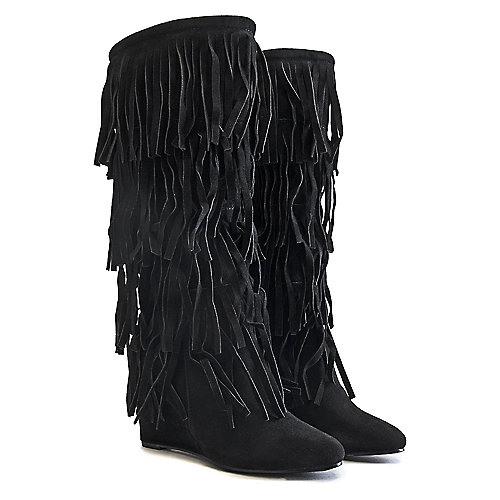 Adriana Women's Wedge Fringe Boot Abel-10 Black Wedge Boots