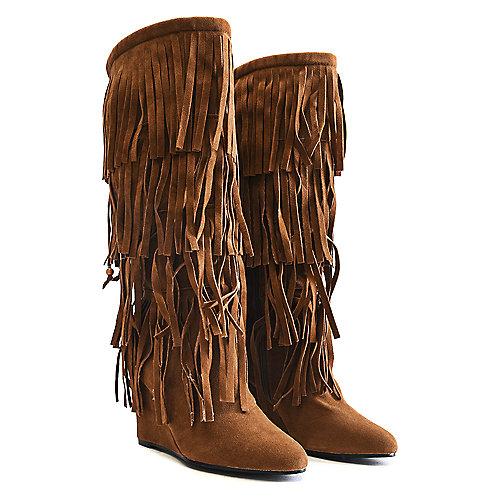 Adriana Wedge Fringe Boots Abel-10 Tan