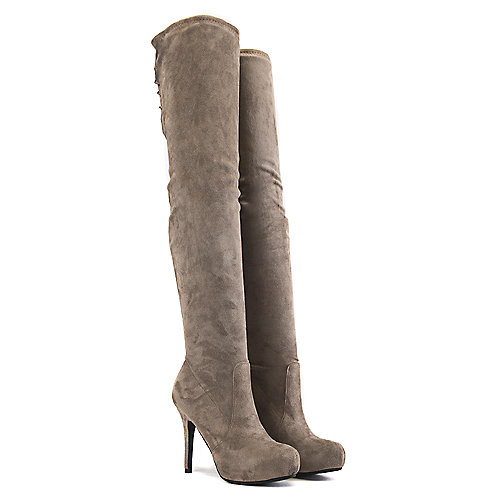 Dollhouse Thigh-High Boots Deceive Taupe