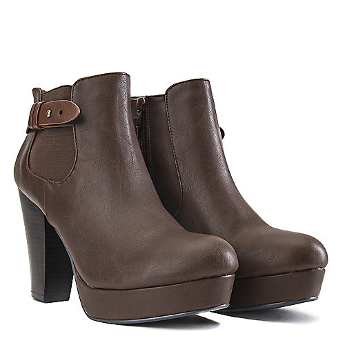 Soda High Heel Ankle Boots Quote-H Brown