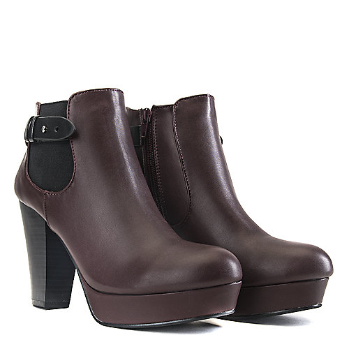 Soda High Heel Ankle Boots Quote-H Burgundy