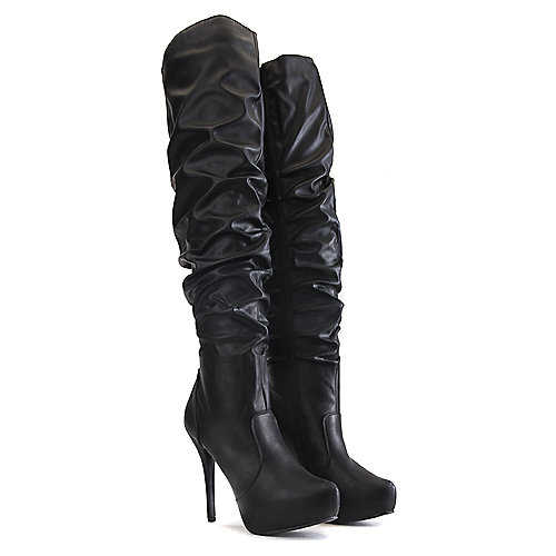 Nature Breeze Amber-06 Thigh-High Boots Black