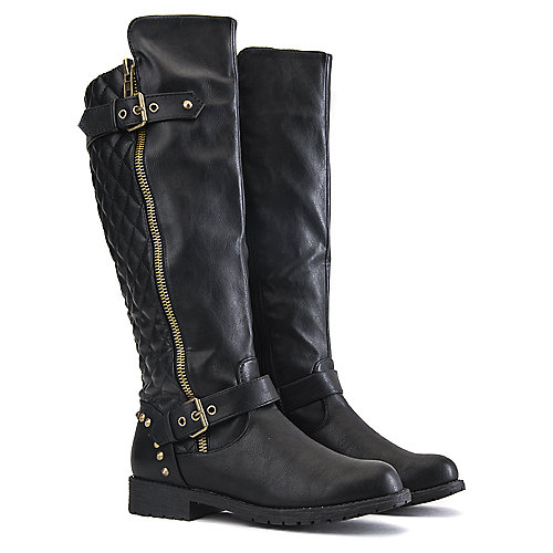 Nature Breeze Vivienne-01 Low Heel Boots Black Mid-Calf Boots