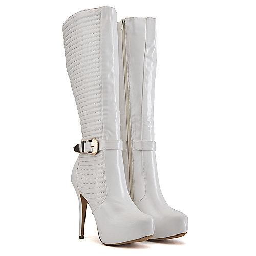Nature Breeze Women's Knee-High Boot Amber-02 White Knee-High Boots