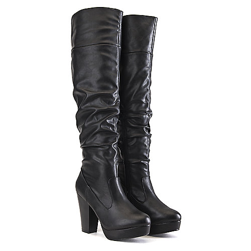 Bamboo Huxley-13 Knee-High Boots Black