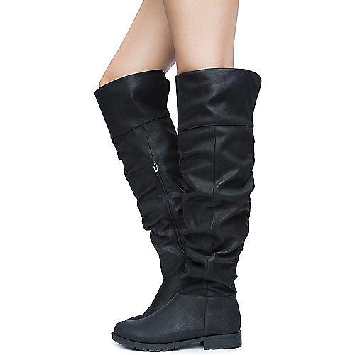 Bamboo Women's Monterey-06 Low-Heel Boot Black Low Heel Boots