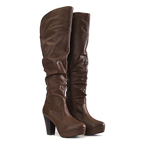 Bamboo Huxley-13 Knee-High Boots Tan